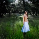 Model in a white skirt in a forest of oaks | San Jose, USA
