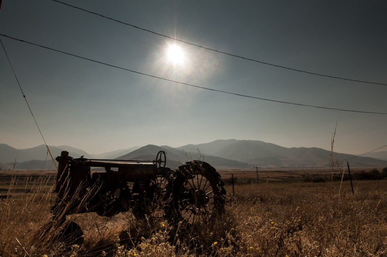 An old and rusted tractor in California's Central Valley (photo: P.M. Lydon, 2012)