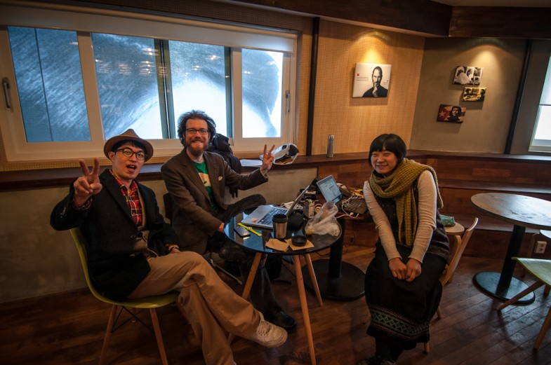 Dr. Noah, Patrick, and Suhee having a chat during our first week at Space Noah in Seoul