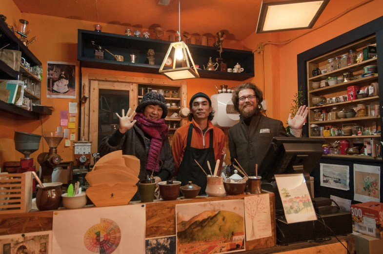 Suhee and Patrick with the Coffee Master at Isim in Seoul, South Korea
