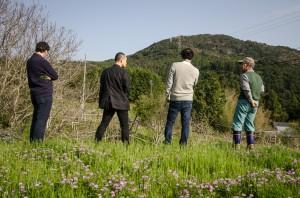The away team: a visit to Matsu Zawa's Farm with Suizu, Ikumasa, and Ross.