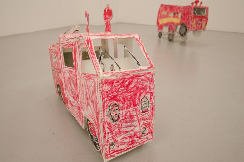 Eiji Watanabe's physical reproductions of children's drawings.