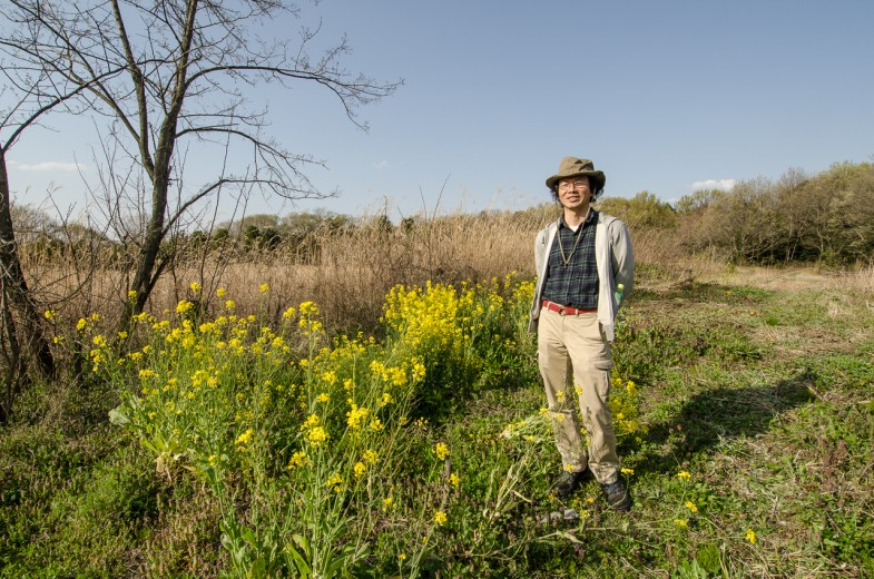 Ishii Haruo at the natural farm plot on the Aichi campus -- not in production for the semester yet!