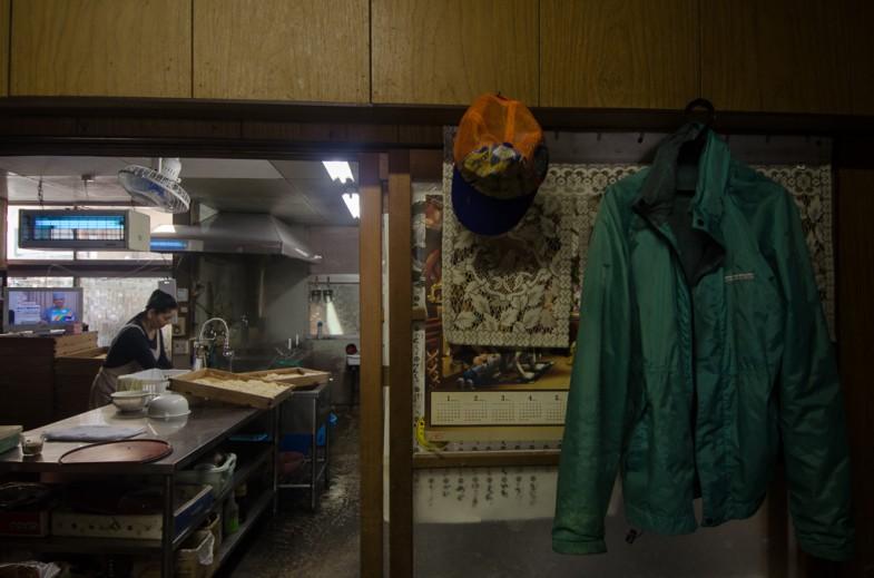 Kitchen at the small Udon shop in Kagawa, Japan.