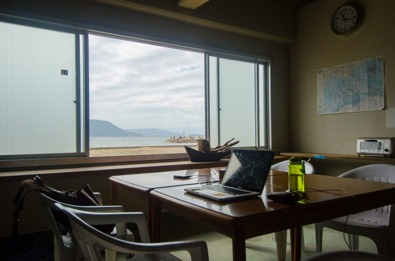 Daytime view from the workspace on the island