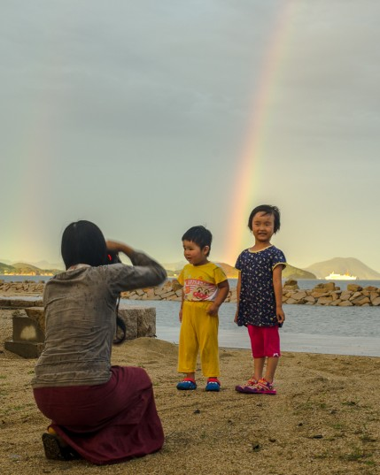 Suhee, the local kids, and a rainbow in Megijima.