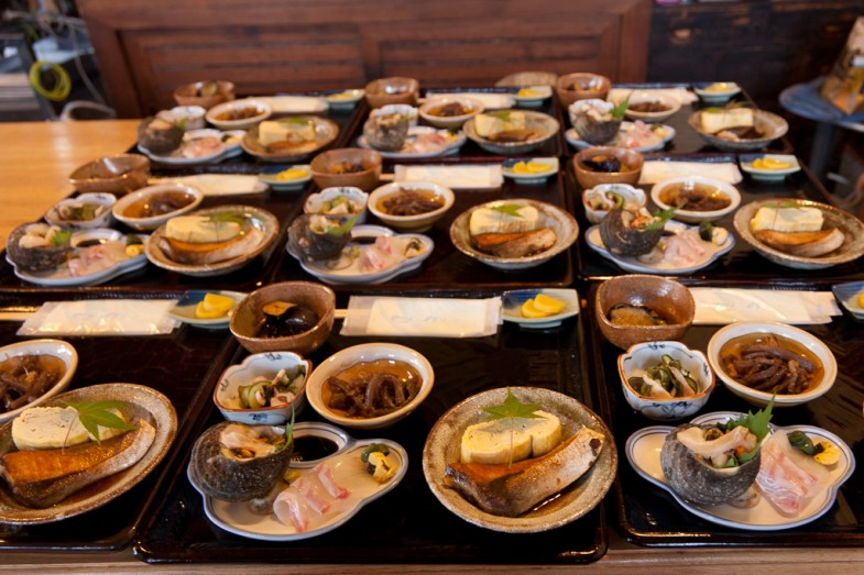 The feast at Kishu Restaurant in Megijima, Japan