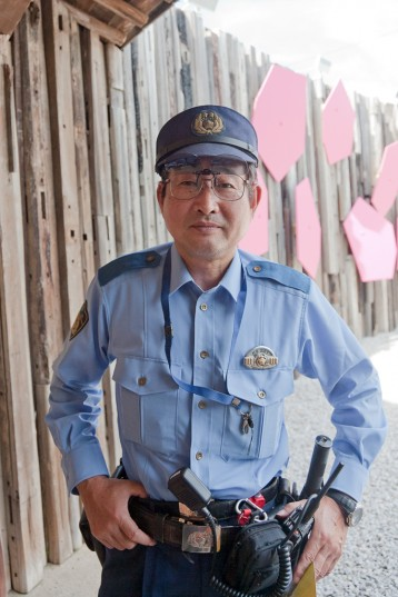 Megijima Police officer, Mr. Hiromi, in attendance for the unveiling
