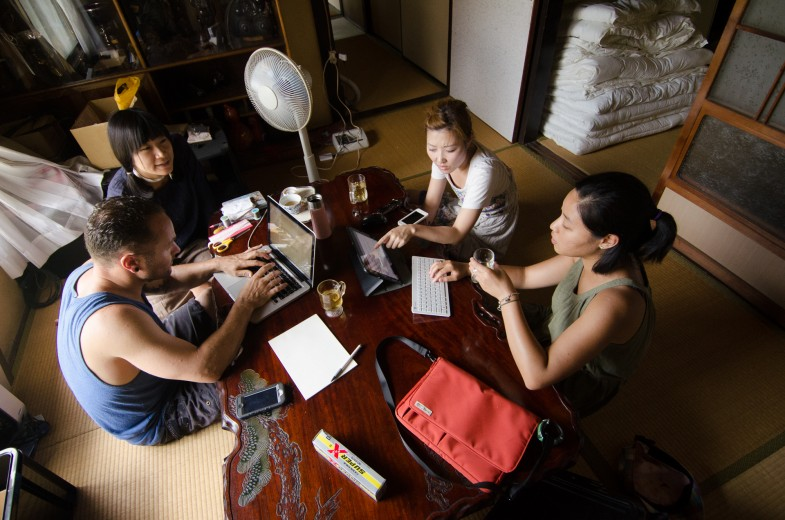 The storytelling team hard at work in Megijima, Japan