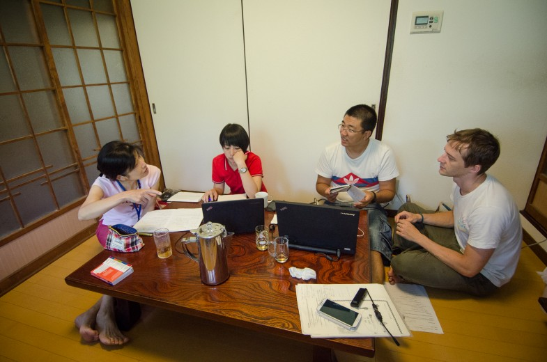 The editing team hard at work in Megijima, Japan