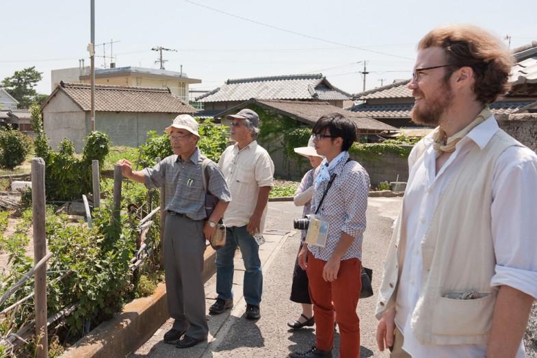 Farmers Matsuzawa and Kohno, surveying farms on Megijima with Patrick and translator Ryushi