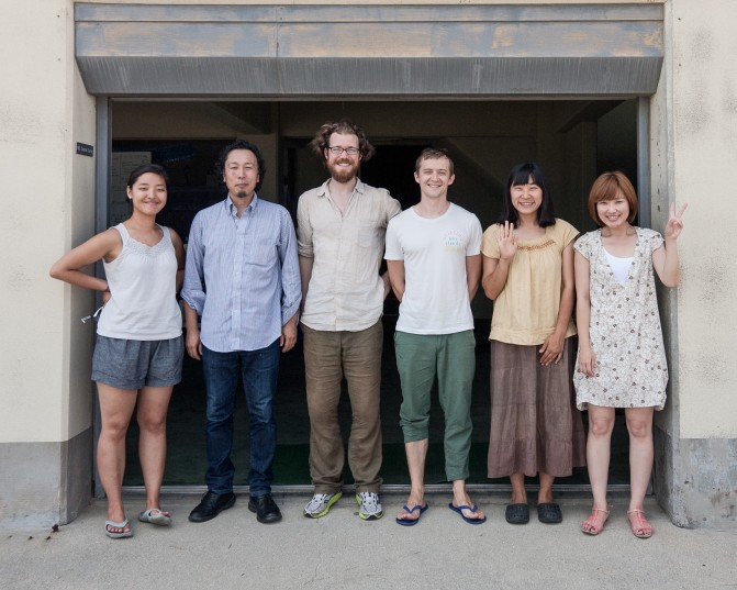 The [HUMAN:NATURE] team in Megijima, from left to right (Songyi Lee, Isao Suiz, Patrick Lydon, Johann Barbie, Suhee Kang, Kei Toh)