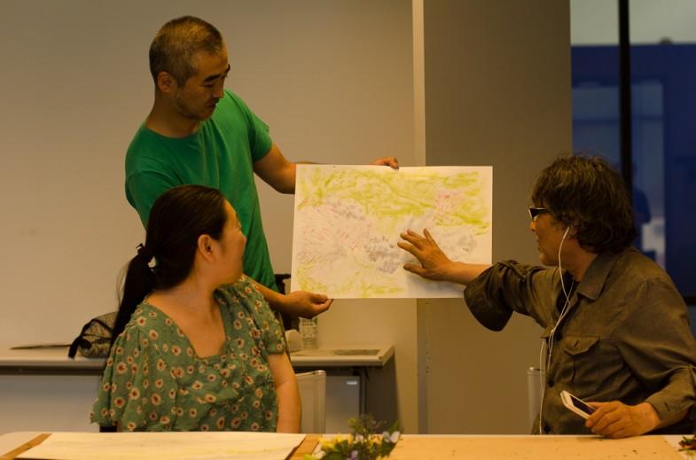 Discussing student work with 村山修二郎 (Shujiro Murayama) in Yamaguchi, Japan