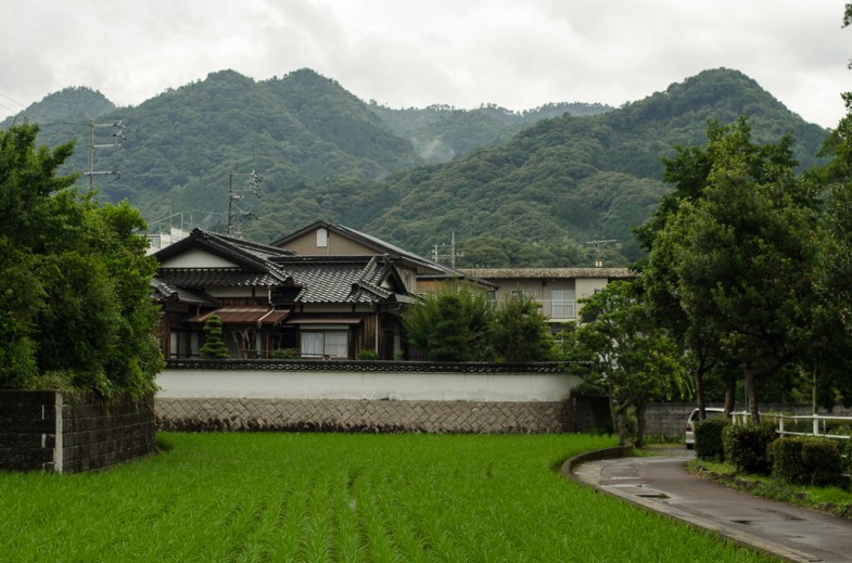 House and rice field in Yamaguchi, Japan